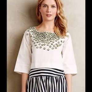 Anthro Not So Serious Poplin Beaded Floral Top